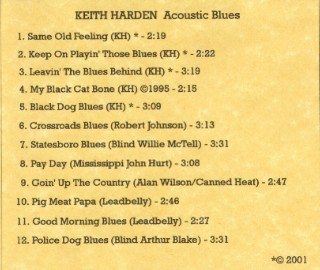 [Keith Harden - Acoustic Blues - Back Cover]