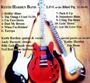 [Keith Harden Band - Live at the Blind Pig 11-26-96 - Back Cover]